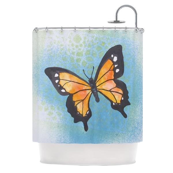 Kess InHouse Padgett Mason Summer Flutter Blue Orange Shower Curtain