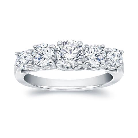 Auriya Platinum 1 1/2ctw 5-Stone Diamond Engagement Ring
