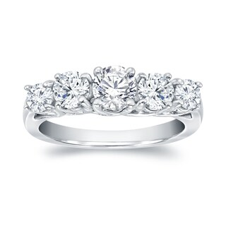 Auriya Platinum 1 1/2ct TDW 5-Stone Diamond Engagement Ring