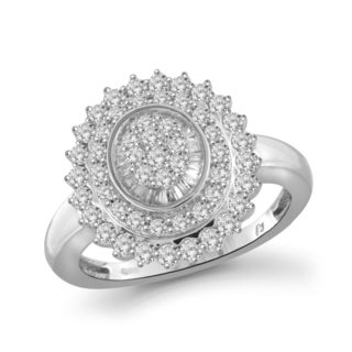 Jewelonfire Sterling Silver, Yellow Gold Over Sterling Silver 1.00ct TDW White Diamond Oval Shape Ring (I-J, I2-I3)