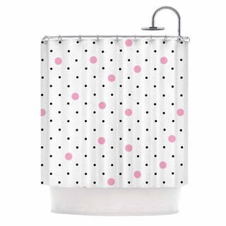 Kess InHouse Project M Pin Points Polka Dot Pink Pink Black Shower Curtain