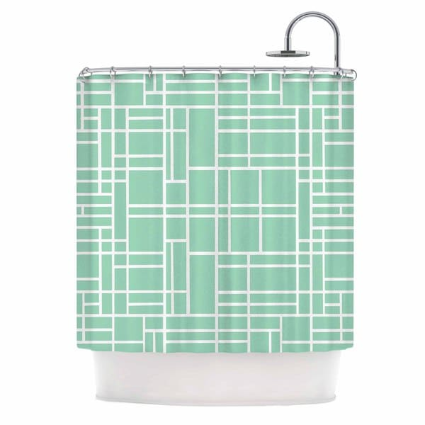 Kess InHouse Project M Map Outline Mint Geometric Lines Shower Curtain