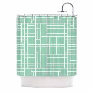 Kess InHouse Project M Map Outline Mint Geometric Lines Shower Curtain
