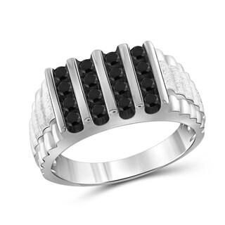Jewelonfire Sterling Silver Men's 1.00ct TDW Black Diamond Four Slant Row Ring