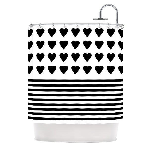 Kess InHouse Project M Heart Stripes Black and White Monochrome Lines Shower Curtain