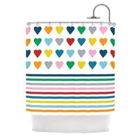 Kess InHouse Project M Heart Stripes Rainbow Shapes Shower Curtain