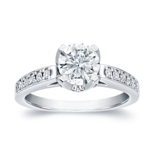 Auriya Platinum 1 1/3ct TDW Certified Round Cut Diamond Engagement Ring (H-I, SI1-SI2)