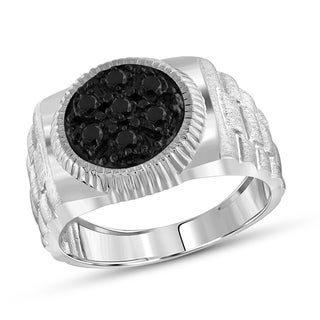 Jewelonfire Sterling Silver Men's 1.00ct TDW Black Diamond Ring - White
