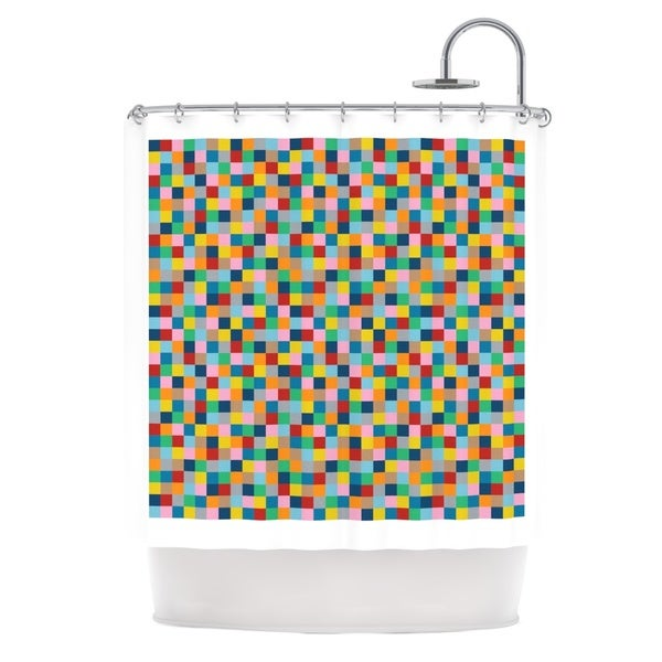 Kess InHouse Project M Colour Blocks Geometric Rainbow Shower Curtain