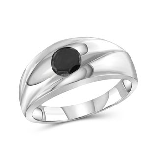 Jewelonfire Sterling Silver Men's 1.00ct TDW Black Diamond One Stone Ring
