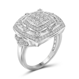 Jewelonfire Sterling Silver 1.00ct TDW White Diamond Ring