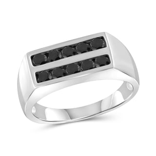 Jewelonfire Sterling Silver Men's 1.00ct TDW Black Diamond Two Row Ring