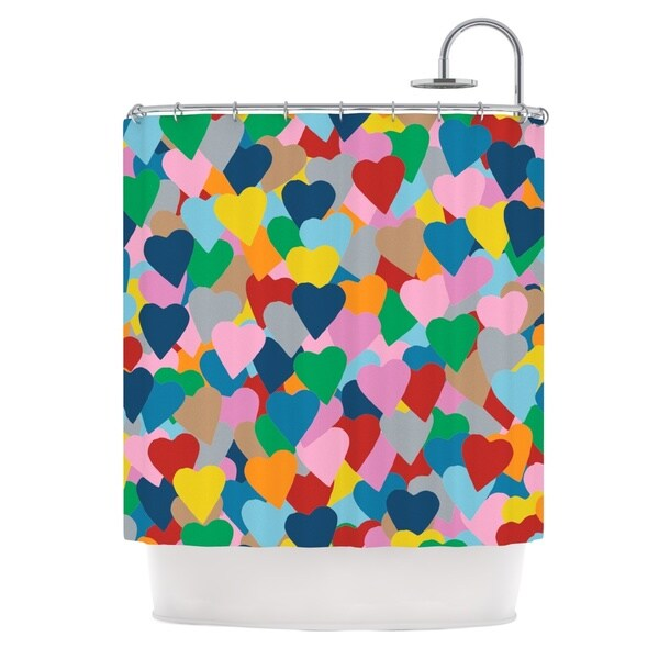 Kess InHouse Project M More Hearts Shower Curtain