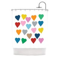 Kess InHouse Project M Colorful Hearts Shower Curtain