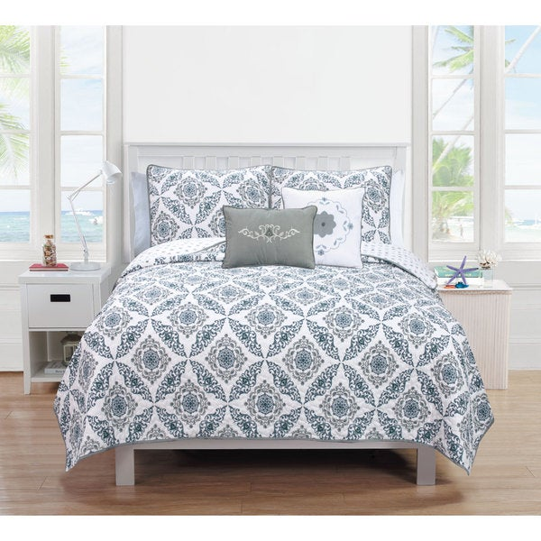 Melody Collection 5-Piece Printed Quilt Set with Shams