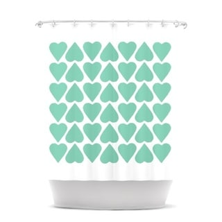 KESS InHouse Project M Mint Up and Down Hearts Shower Curtain (69x70)