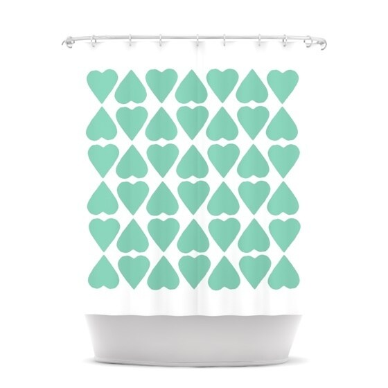Shop KESS InHouse Project M Mint Diamond Hearts Shower Curtain 69x70