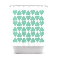 KESS InHouse Project M Mint Diamond Hearts Shower Curtain (69x70)