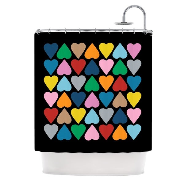 Kess InHouse Project M Up and Down Hearts On Black Shower Curtain