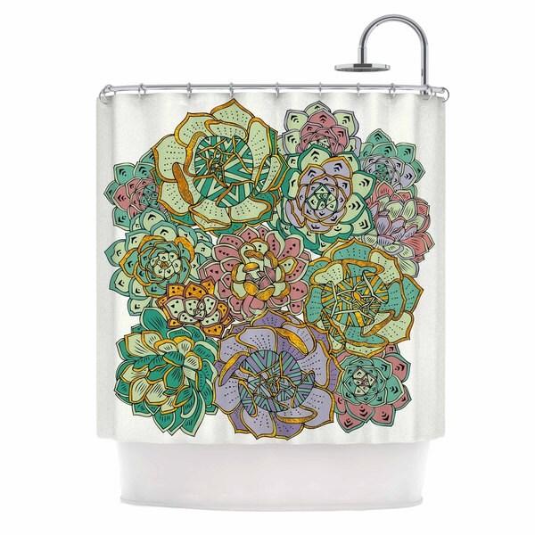 Kess InHouse Pom Graphic Design Succulent Love Green Orange Shower Curtain