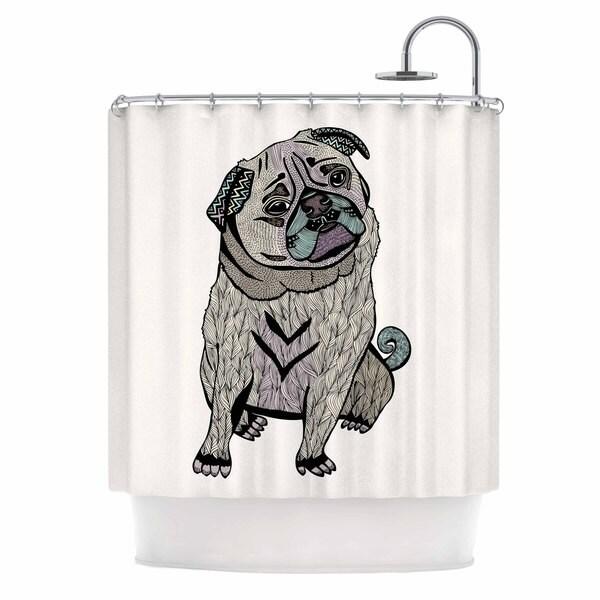 Kess InHouse Pom Graphic Design Ares The Pug Black Multicolor Shower Curtain