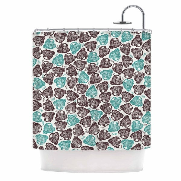 Kess InHouse Pom Graphic Design The Barking Pug Teal Black Shower Curtain