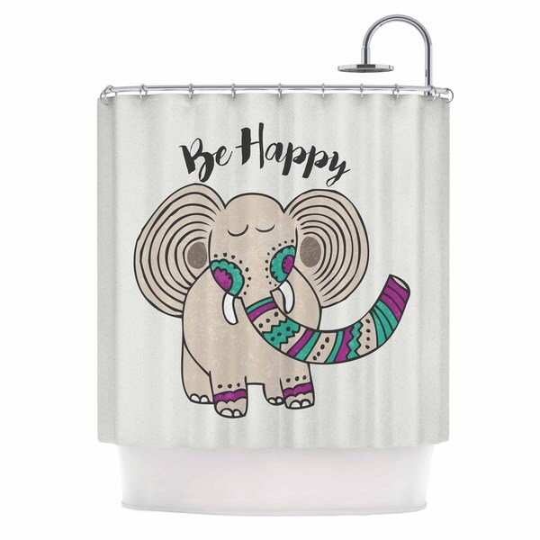 Kess InHouse Pom Graphic Design Be Happy Tan Typography Shower Curtain