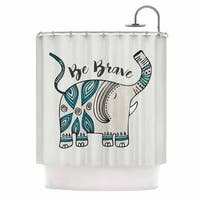 Kess InHouse Pom Graphic Design Be Brave Teal Typography Shower Curtain