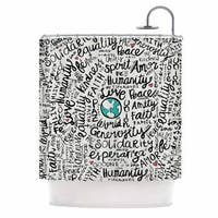 Kess InHouse Pom Graphic Design Positive World Teal Black Shower Curtain