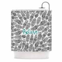 Kess InHouse Pom Graphic Design Believe Gray Teal Shower Curtain