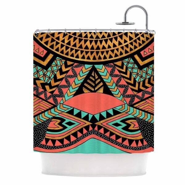 Kess InHouse Pom Graphic Design Perunative Gold Coral Shower Curtain