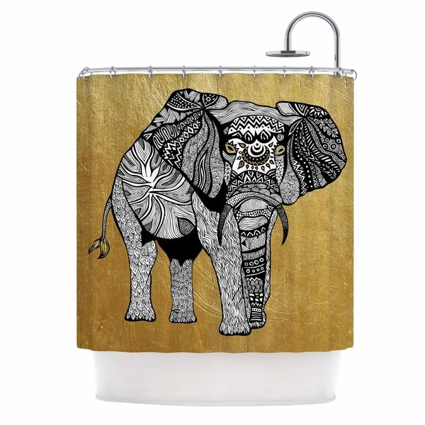 Kess InHouse Pom Graphic Design Golden Elephant Shower Curtain