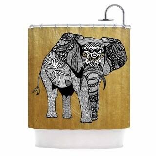 Kess InHouse Pom Graphic Design Golden Elephant Shower Curtain