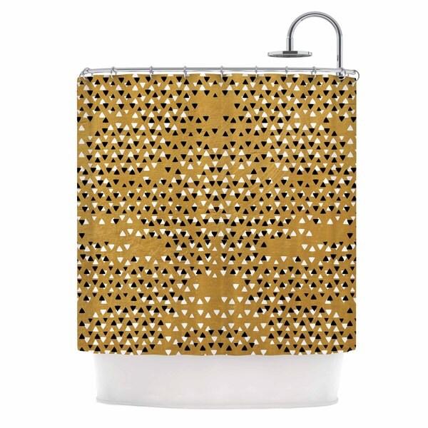 Kess InHouse Pom Graphic Design Golden Sky Gold Black Shower Curtain