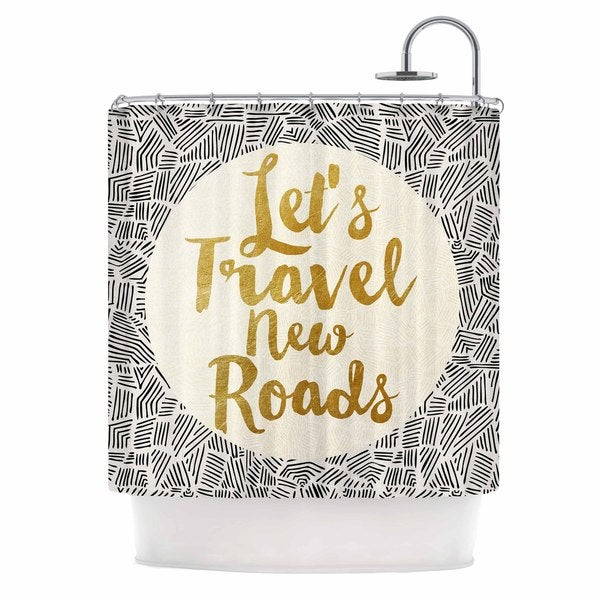 Kess InHouse Pom Graphic Design Let's Travel New Roads Gold Black Shower Curtain