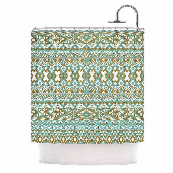Kess InHouse Pom Graphic Design Mint & Gold Tribals Teal Brown Shower Curtain