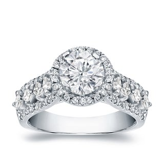Auriya Platinum 1 1/2ct TDW Certified Round Cut Halo Diamond Engagement Ring (H-I, SI1-SI2)