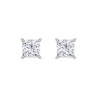Platinum Princess-cut IGI Certified 2CTtw Diamond Stud Earrings (I-J, VS1-VS2)