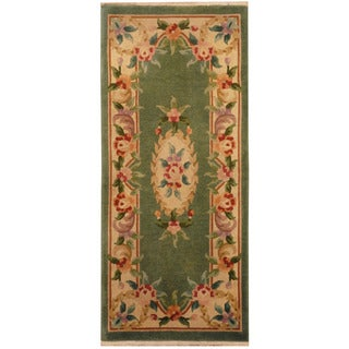 Herat Oriental Sino Hand-knotted 1960s Semi-antique Aubusson Wool Rug (2' x 4'7)