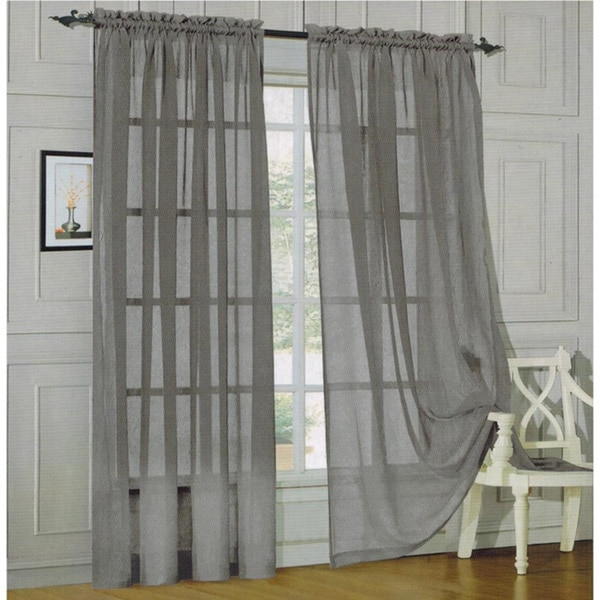 elegant comfort 84inch window sheer curtain panel pair