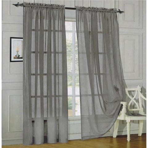 Elegant Comfort 84-inch Window Sheer Curtain Panel Pair - 60 x 84