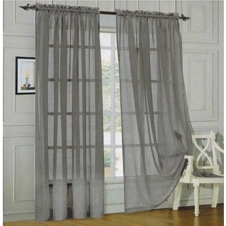 Elegant Comfort 84-inch Window Sheer Curtain Panel Pair (Option: Orange)