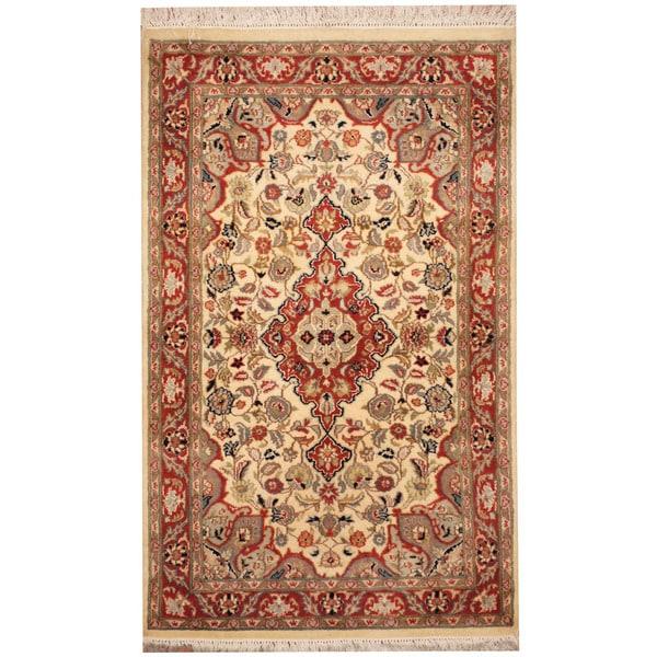 Herat Oriental Pakistani Hand-knotted Tabriz Wool Rug (2'7 x 4'3)