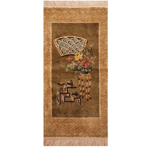 Handmade One-of-a-Kind Sino Silk Rug (India) - 2' x 4'
