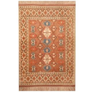 Herat Oriental Afghan Hand-knotted Tribal Turkoman Silk Rug (2'7 x 4')