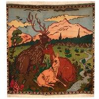Handmade Herat Oriental Persian Tribal Kashan Wool Rug (Iran) - 3' x 3'
