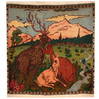 Handmade Herat Oriental Persian Tribal Kashan Wool Rug - 3' x 3' (Iran)