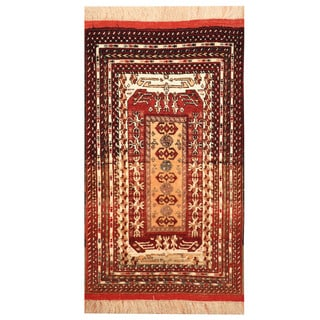 Herat Oriental Afghan Hand-knotted Tribal Turkoman Silk Rug (2'4 x 4')