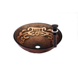 Novatto MOSAICO Glass Vessel Bathroom Sink Set, Oil Rubbed Bronze