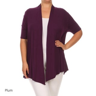 Women's Rayon Blend Plus Size Solid Cardigan (3 options available)